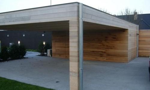 Carport platdak + berging Red-Cedar IJmuiden