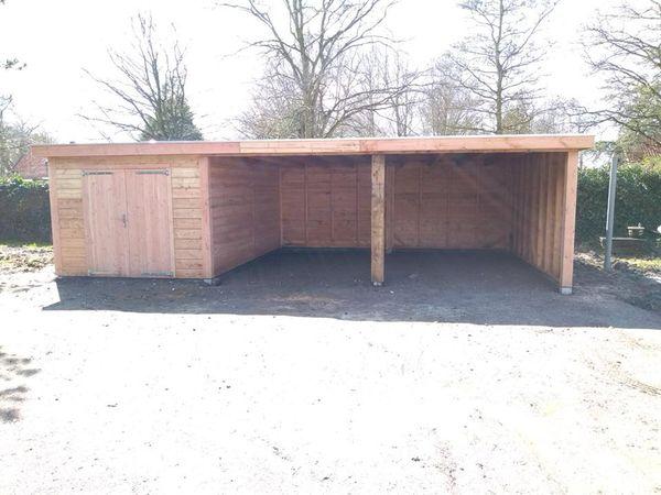 Garage platdak + zij overkapping 2 vak Strijen