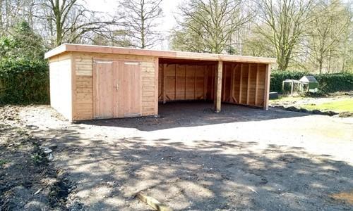garage-platdak---zij-overkapping-2-vak-strijen afbeelding