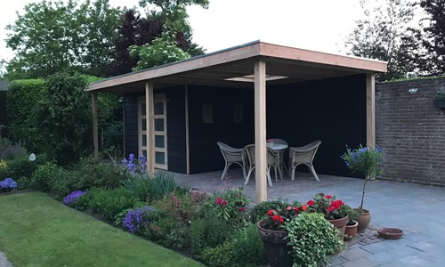tuinhuis-platdak---zij-overkapping-kilder afbeelding