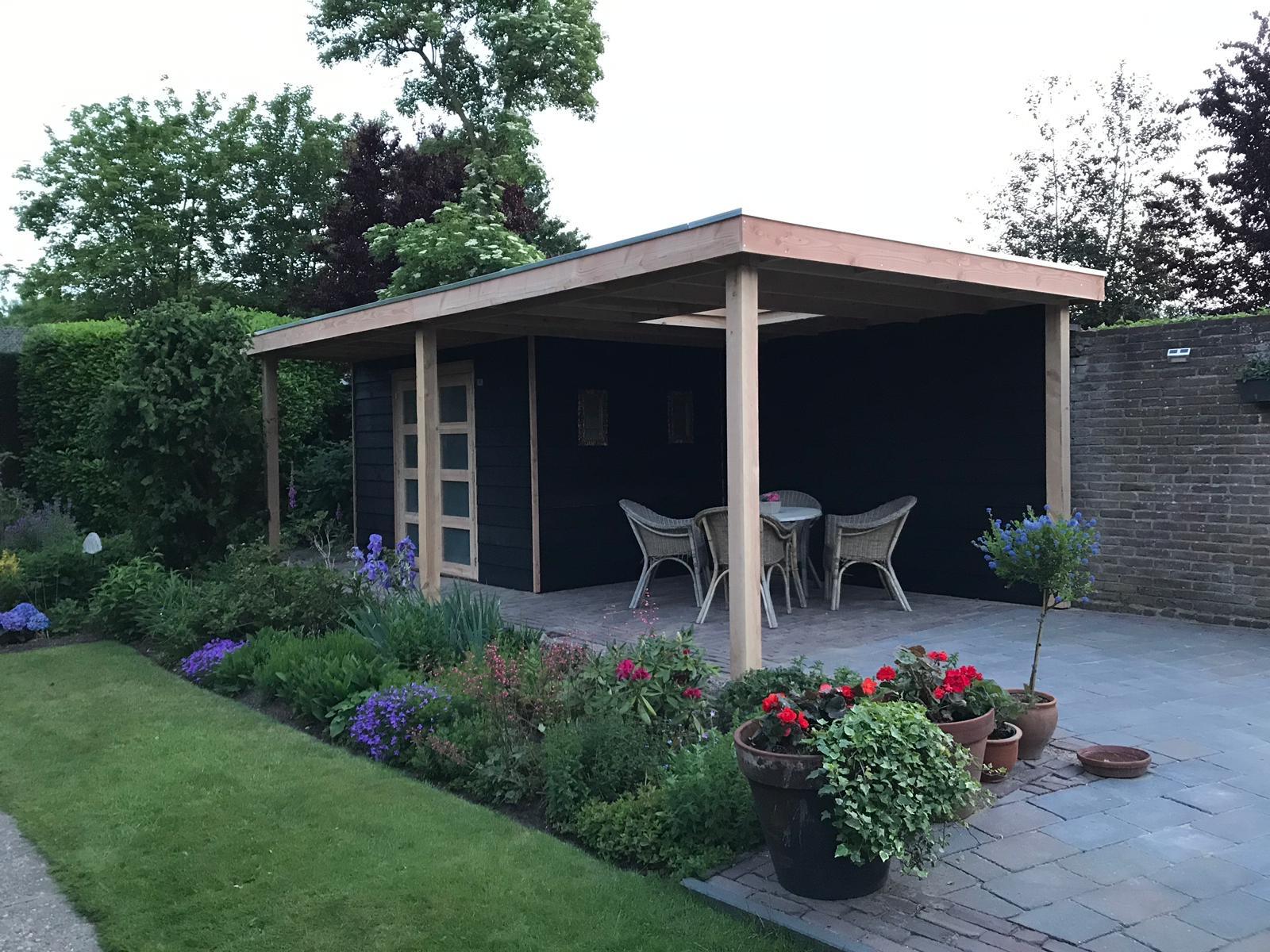 Tuinhuis platdak + zij overkapping Kilder