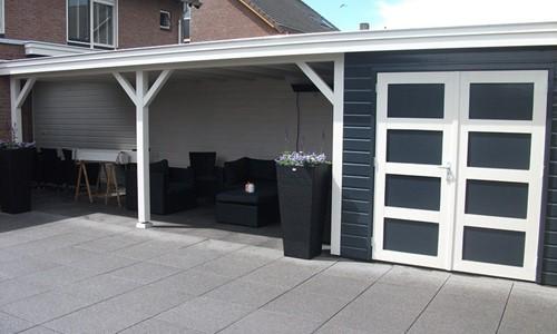Tuinhuis platdak modern + overkapping Groningen