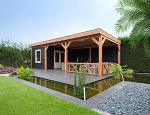 Tuinhuis platdak modern + zij overkapping Catrijp