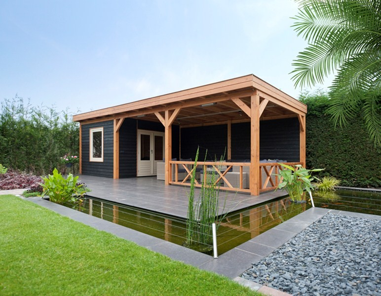 modern tuinhuis zij overkapping catrijp | 1001tuinhuisjes