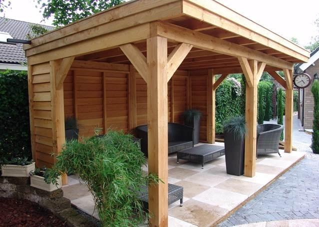 houten veranda plat dak ridderkerk | 1001tuinhuisjes