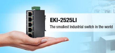 Afbeelding 1 - Advantech EKI-2525LI: De kleinste industriële Ethernet switch ter wereld
